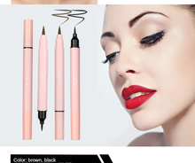 MB New 2020 Waterproof Liquid Eye liner Double Head Black Brown Eye Liner Set 3D Fiber Eye Makeup(China)