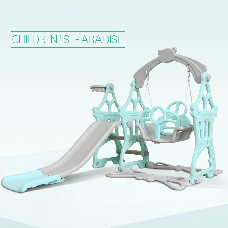 New Arrivals Plastic Kids Slides And Swing Child Home Playground Plastic Slides Indoor Eco-friendly Slider With Swing Basket