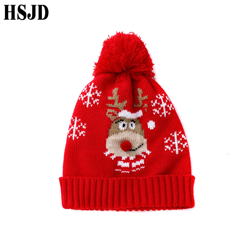 Children Winter Hat Cute Christmas Elk Knit Beanies Boy Girl Warm Skullies Bonnet Cartoon Animal Kids Xmas Gift 1-6 Years
