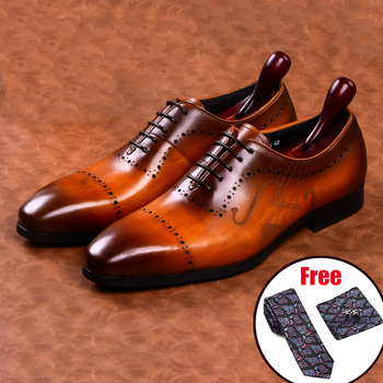 Men leather shoes business dress suit men brand Bullock genuine black laces wedding mens Phenkang 2020
