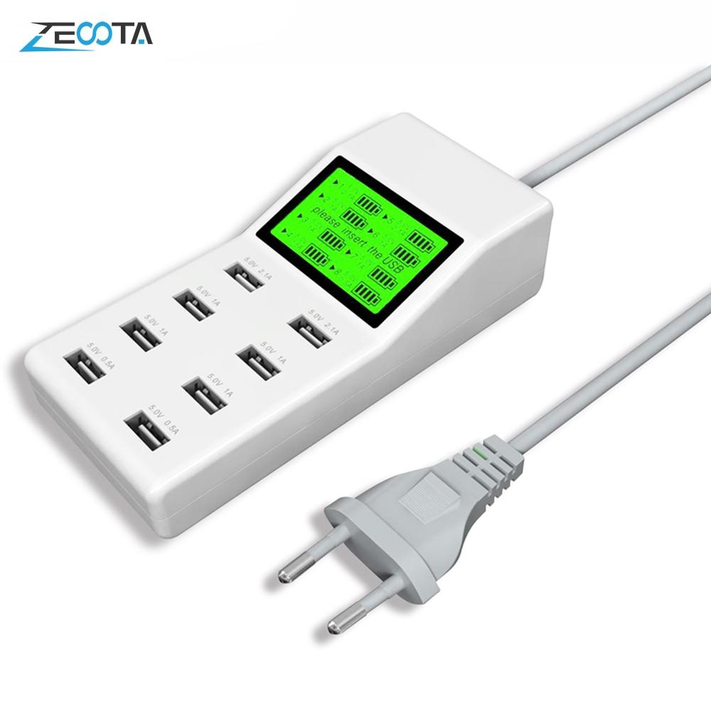 40W 8A USB Charger 8-port USB Hub Charging Stations+LCD display UK US AU EU Plug
