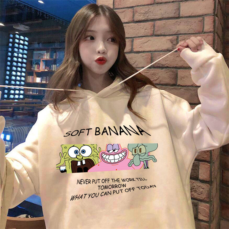 Kawaii Cartoon Printed Japanese Hoodie Women Funny Korean Tops Sweatshirt Women Clothes Long Sleeve Pullover Loose Hoodie
