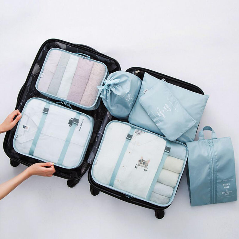 7pcs/set Luggage Organizer Bag Large Waterproof Travel Accessories Polyester Packing Cubes Organiser For Clothing Storage Bags