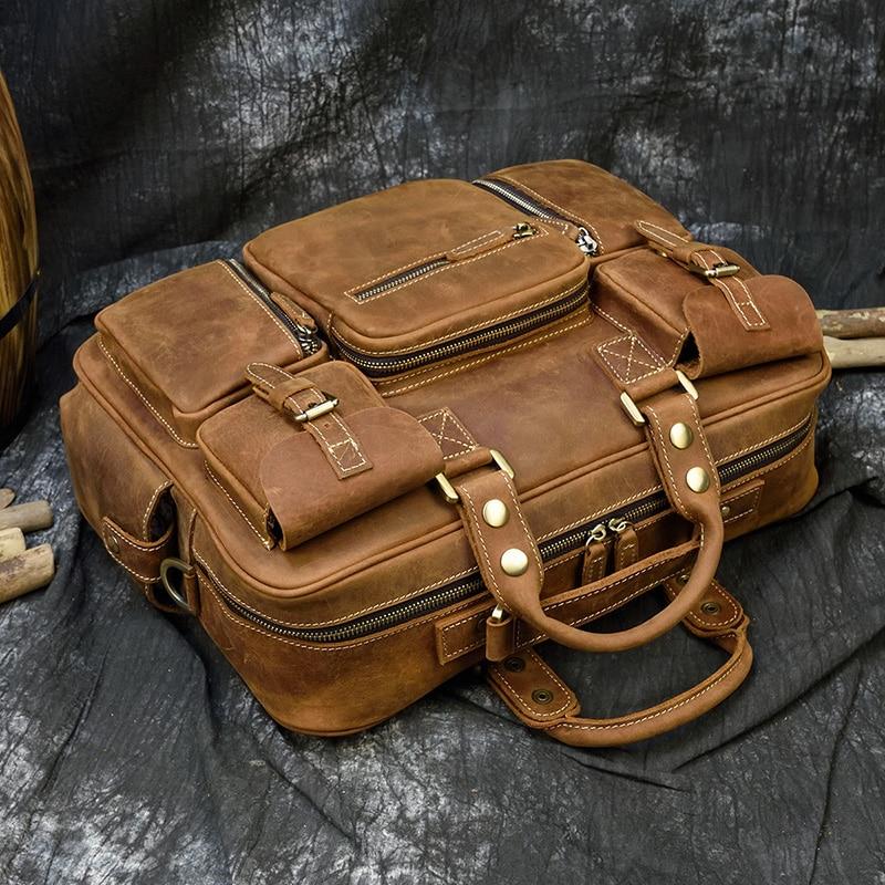 "Hcd4ec974831e48bf88884dbd052eec0f3 MAHEU Men Briefcase Genuine Leather Laptop Bag 15.6"" PC Doctor Lawyer Computer Bag Cowhide Male Briefcase Cow Leather Men Bag"