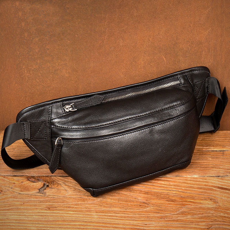 Men's Chest Bag Vintage Genuine Leather Travel Wallet Passport Cover Cowhide Large Messenger Bags Multi-function Waist Pack