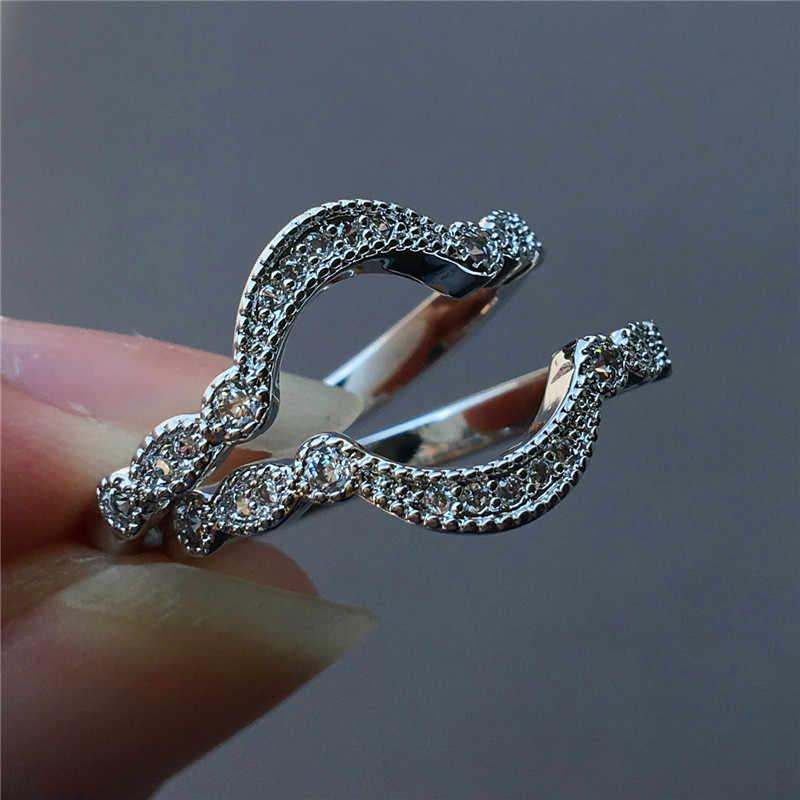 น่ารักหญิงสุภาพสตรี Zircon แหวนแฟชั่นเงิน 925 รักแหวนหมั้นแหวนสัญญาแหวนเจ้าสาวสำหรับผู้หญิง