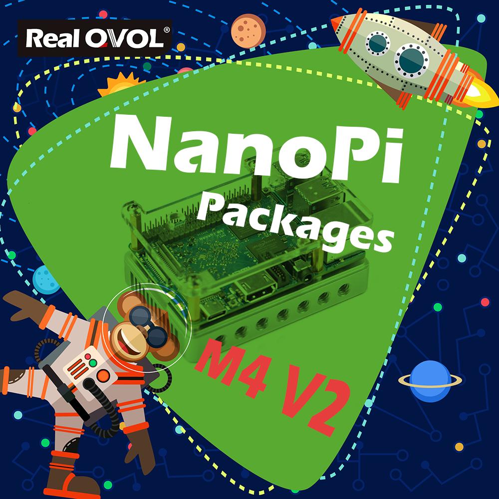 RealQvol FriendlyARM NanoPi M4V2 4GB Kit Package Rockchip RK3399 2.4G&5G dual-bandhas ports interfaces compatible with RPi B3+