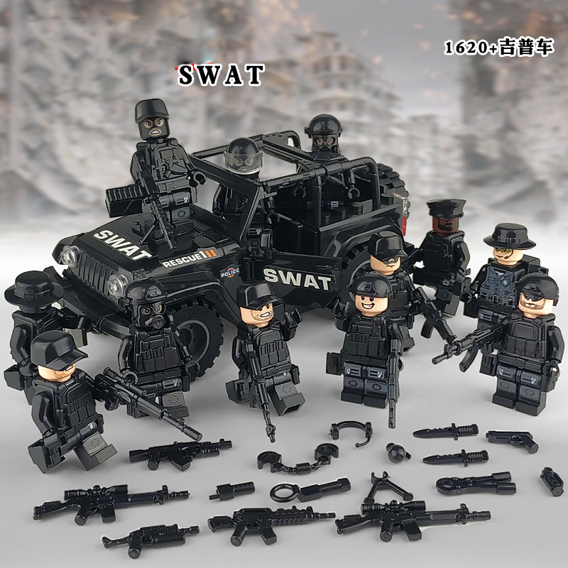 Compatible Legoinglys Military Special Forces Soldiers Bricks Figures Car Guns Weapons Armed SWAT Building Blocks Kids Toys