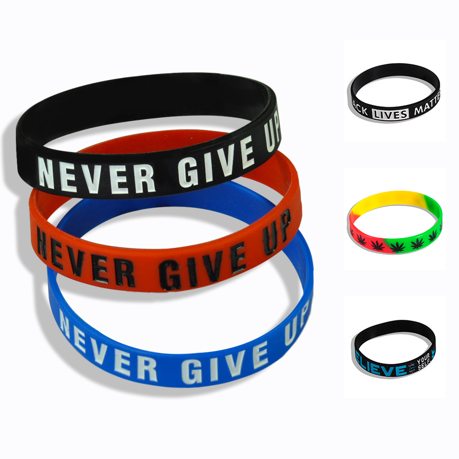 """Fashion Punk """"The Road to Dreams"""" """"Never Give Up"""" Inspirational Silicone Rubber Bracelet Elastic Band Bracelet Gift"""