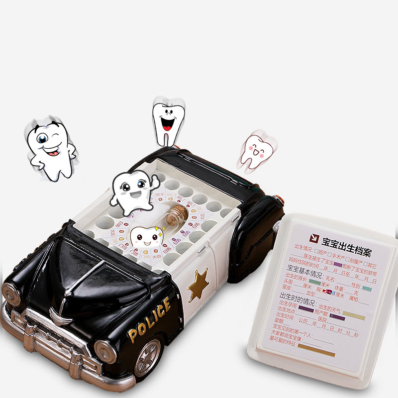 Little Car Style Baby Kids Tooth Storage Box Teeth Umbilical Lanugo Organizer Gift For Boys Creative Resin Baby Soucenirs ZL220
