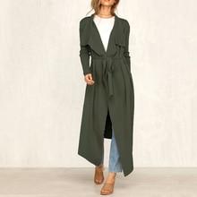 Casual Autumn Trench Coat Women Long Windbreaker Turn Down Collar Female Coats Sashes Open Stitch Outwear dark grey open front lapel collar trench coat
