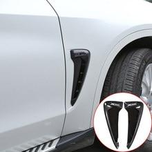 3 renk araba ön çamurluk yan havalandırma kapağı Trim karbon fiber ABS BMW X serisi X5 F15 X5M F85 köpekbalığı solungaçları yan havalandırma Sticker