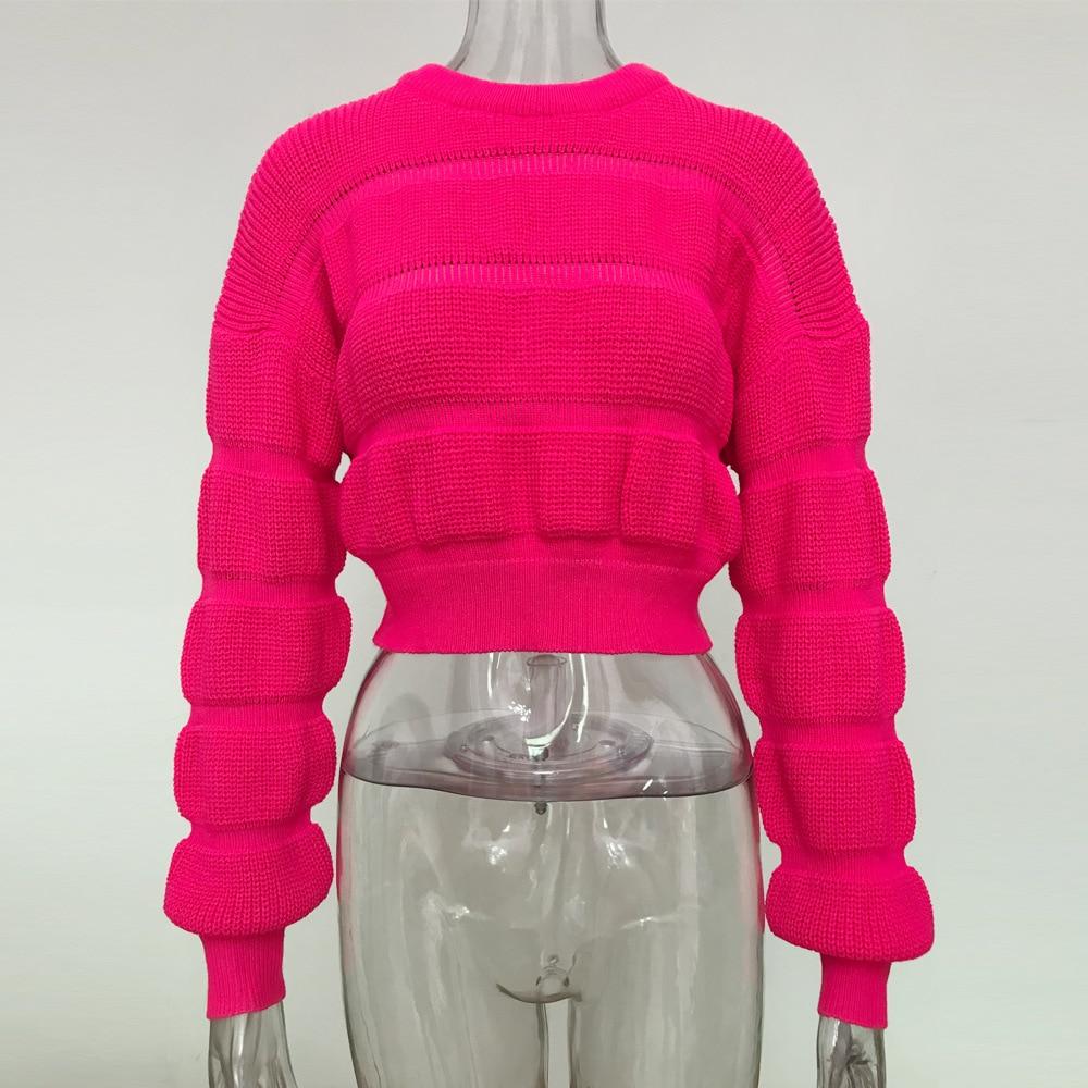 Dulzura suéter cropped de neon, pulôver grosso