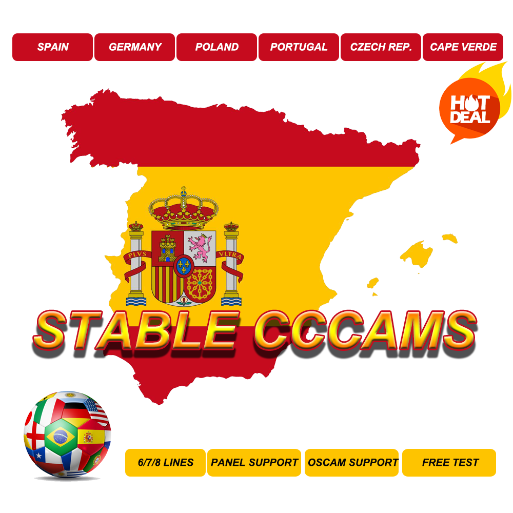 Stable CCcams Spain HD Germany Portugal Poland Server Germany Sky Oscam  Decoder Europa DVBS2 Europe Cape Verde 1 Year HD+