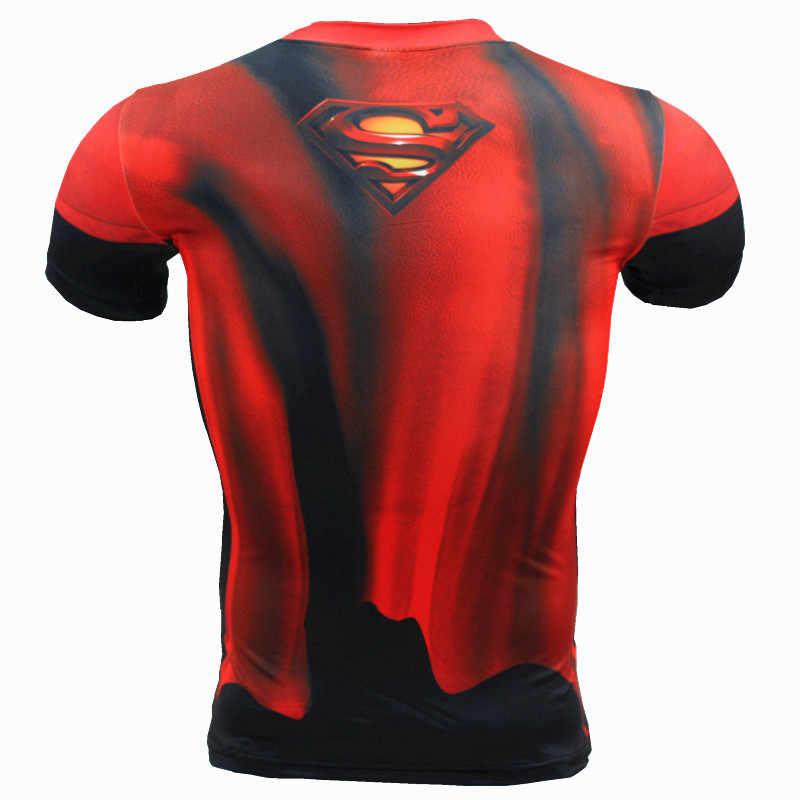 Superman degli uomini di Stampa Camicia di Compressione Batman Sottile Calzamaglie Ciclismo Livello di Base Palestra Jersey di Sport di Fitness Biancheria Intima Abbigliamento MMA