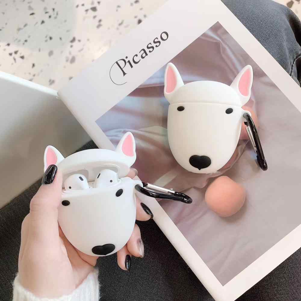 Lucu Kartun Bull Terrier Dog Headphone Case untuk Apple Air Polong Nirkabel Headset Indah Puppy Silikon Pelindung Earphone Cover