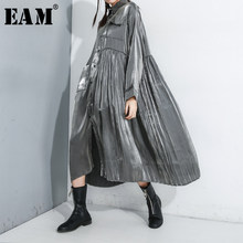[EAM]-vestido negro plisado de talla grande con solapa nueva, manga larga, corte holgado, moda, Primavera, Otoño, 2021