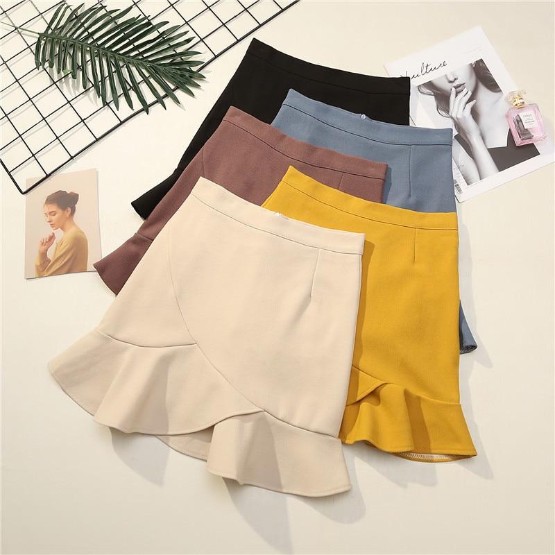 Ruffles Trumpet  Mermaid Skirt Women Clothing Summer 2020 New Above Knee, Mini High Waist Skirt Office Lady Black Skirts Korean