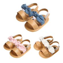 Pudcoco Fast Shipping Summer Newborn Baby Kids Girl Bowknot Shoes Sandals First Walker Soft Sole Shoes