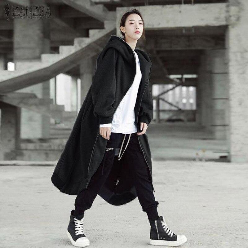Hcd4fdf3292fd420fad98114d071981b0F 2019 ZANZEA Winter Hoodies Sweatshirt Women Hooded Zip Long Sleeve Fleece Irregular Boyfriend Pockets Long Coat Jacket Plus Size