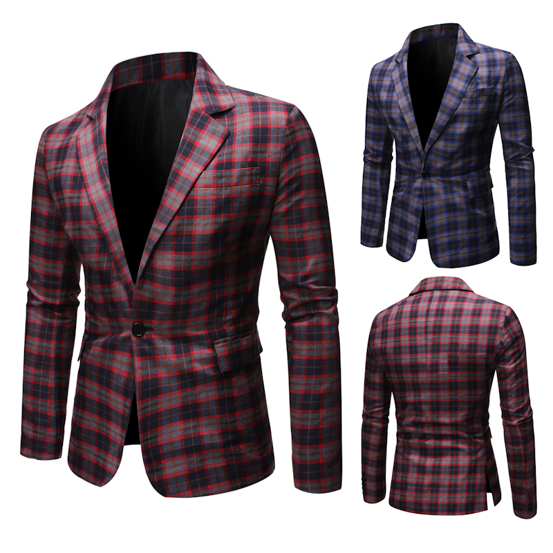 2020Spring High Quality Fashion Casual Suit Jacket Plaid Suit Top Smart Casual  Plaid Blazer  Mens Western Jacket  Flower Blazer