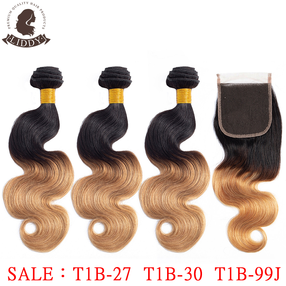 Liddy Bundles With Closure Brazilian Body Wave Hair Ombre 3 Bundles With Closure 100% Human Hair T1B-27 Non-remy Hair Extensions