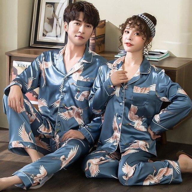 คู่ชุดนอนHomewearพิมพ์Crane 2PCS SleepชุดIntimateชุดชั้นในสบายๆฤดูใบไม้ร่วงใหม่ชุดนอนบ้านเสื้อผ้าชุดนอน