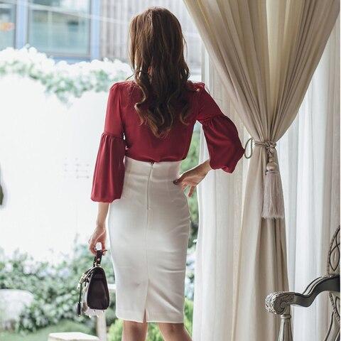 Spring Autumn Women Fashion Two-piece Slim Suit Female Bow Skirt Suit office lady Business  blouse sets Lahore