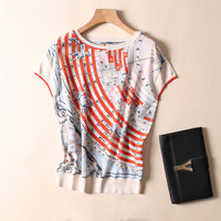 100% Silk Woman Constellation Print Loose T shirt Women High Quality O Neck Short Sleeves Casual Basic Elegant Clothing Fashion