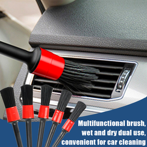 Image 4 - Juego de cepillo para detalles de limpieza de coche, limpiador eléctrico, taladro, orificios de aire de cuero, Herramientas de limpieza de llanta, polvo y suciedad