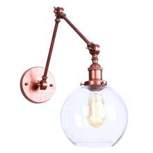 Art Decor 21+21cm double swing arms wall light sconces Clear Globe Ball glass shade Rustic modern Retro lamp espelho de parede