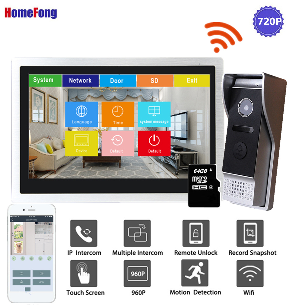 Homefong 10 Inch IP Video Intercom Wi-fi Video Door Phone Door Bell 720P Touch Screen Home Intercom System Waterproof Record
