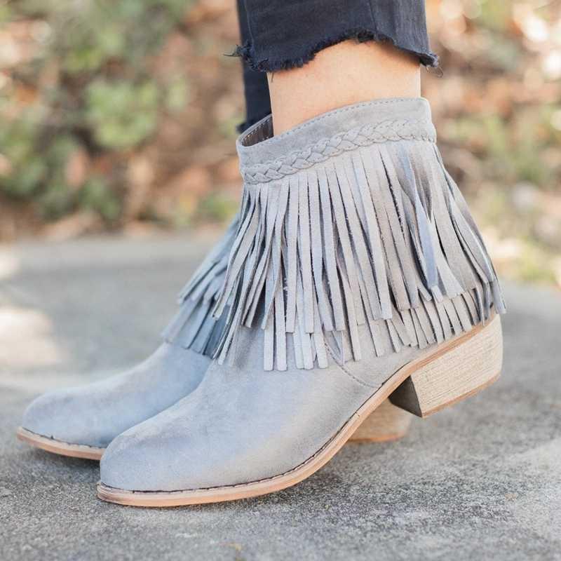 LOOZYKIT Yeni Kadın Saçak yarım çizmeler Retro Katı Süet Düşük Topuk Kadın Sonbahar Fermuar Rahat Patik Ayakkabı Bayanlar 35-43