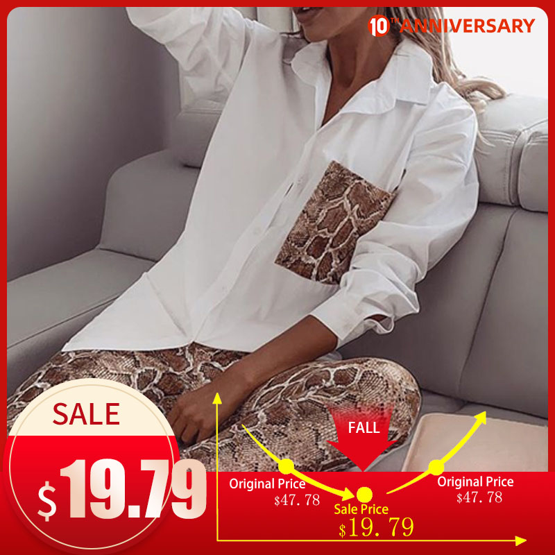 Two Piece Set Snake Print Women's Shirt Suit Long Sleeve Pocket Blouse Female Pants Sets 2020 Spring Suits Thin Faux PU Plastic