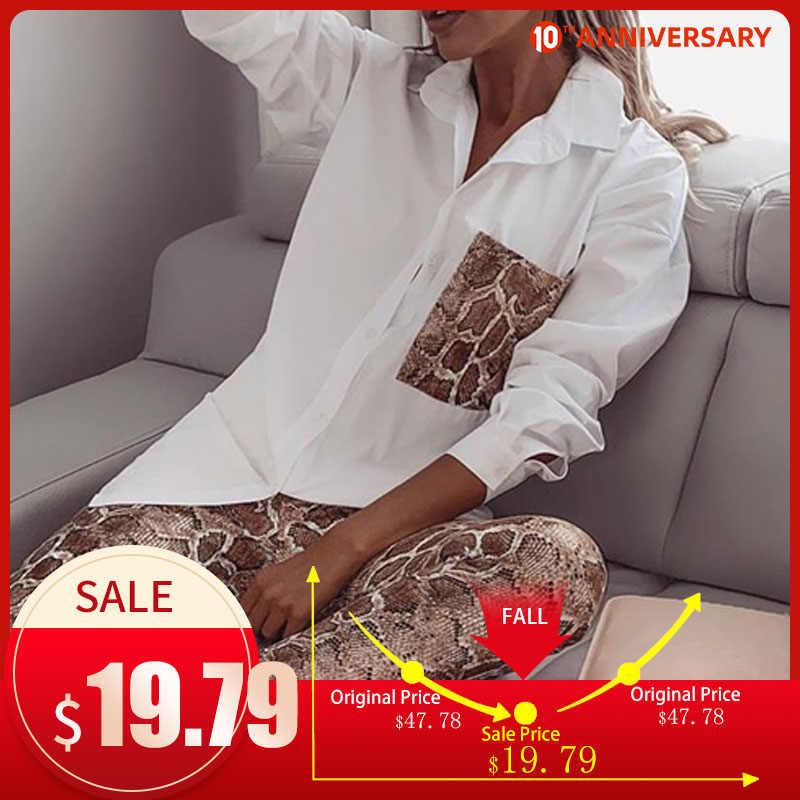 Zwei Stück Set Schlange Drucken damen Shirt Anzug Langarm Tasche Bluse Weibliche Hosen Sets 2020 Frühling Anzüge Dünne faux PU Kunststoff