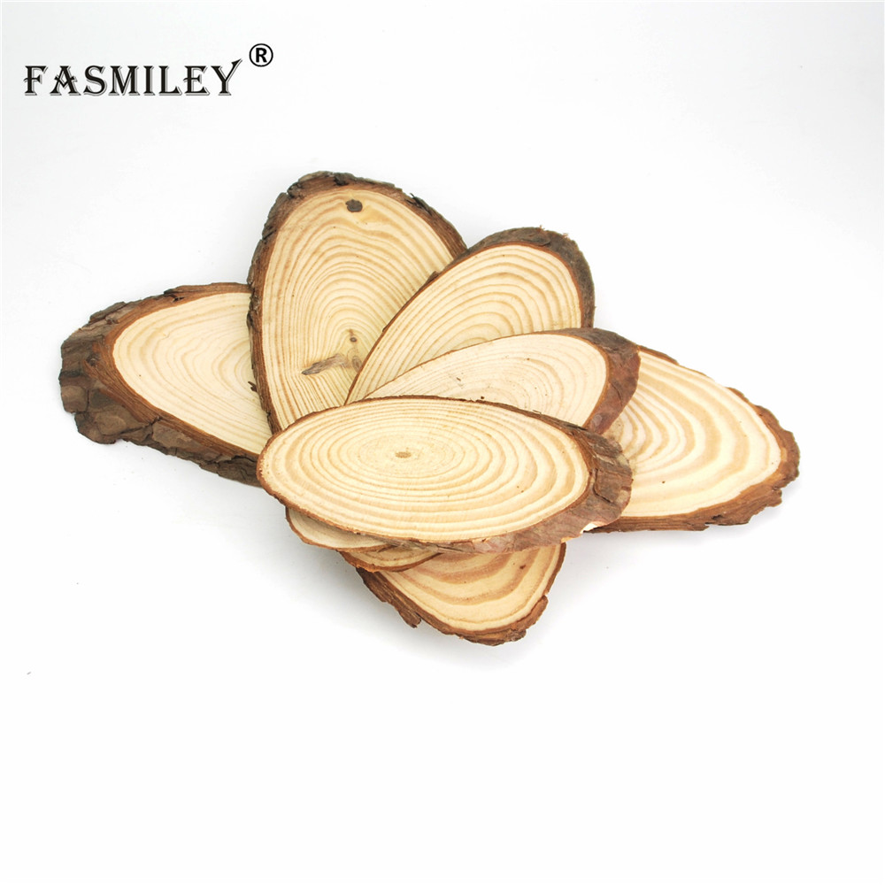 Small Natural Oval Wood Slices Circles Tree Bark Log Discs DIY Crafts Wedding Party Painting Decoration 10-30cm 1pcs Wd05