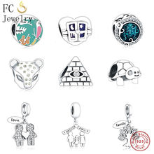 FC Jewelry Fits Original Pandora Charm Bracelet 925 Silver Enamel Sea Mickey Cross Ring Coffee Cup Beads for Making DIY Berloque(China)