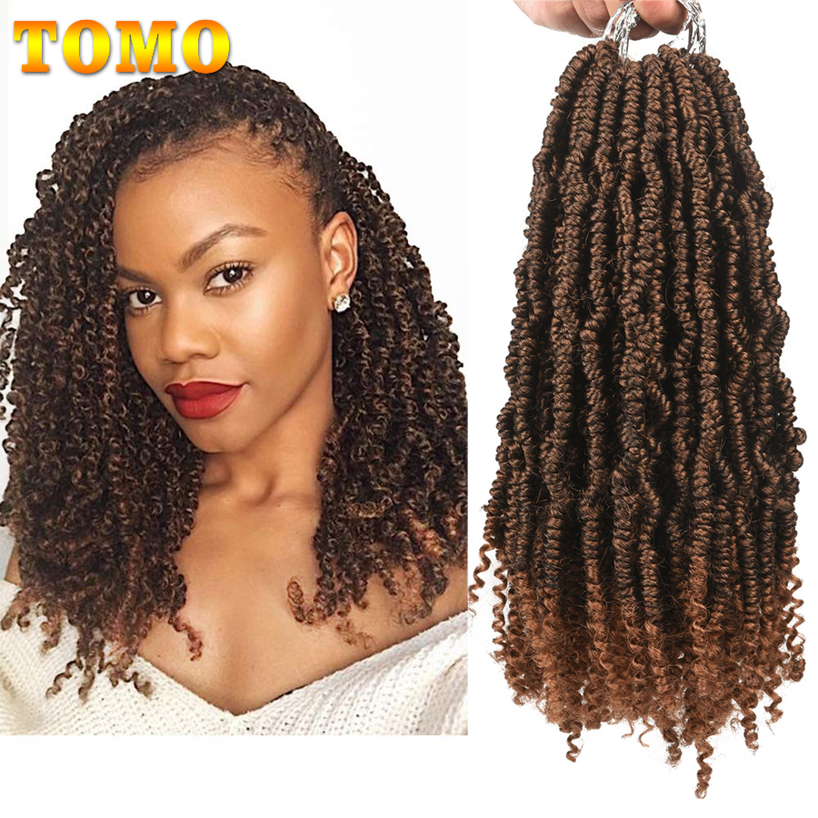 TOMO Crochet Spring Twist Hair Pretwisted 12 Inch Bomb Twist Fluffy Synthetic Pre Looped Passion Twist Crochet Braids 24 Roots