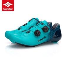 SANTIC zapatos ultraligeros de carbono para hombre, zapatillas transpirables de equipo de carreras, con autosujeción, 10 grados, 2019