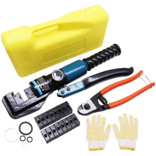 10T 4-70MM Hydraulic Crimping Plier Tool Wire Cable Terminal Crimper w/ 9 Dies Cable Cutter for 1/8