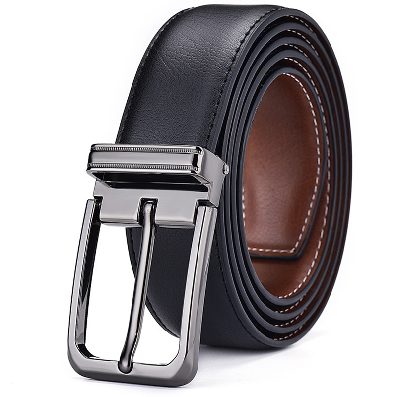 Men's Leather Belt with Single Buckle Business Pin Buckle Luxury Genuine leather Belts Suit Jeans Waistband for Male and Boys