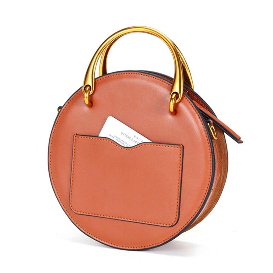 Bolso de cuero genuino para mujer, pequeño bolso redondo, bolso bandolera, bolso elegante para mujer KG280 - 3