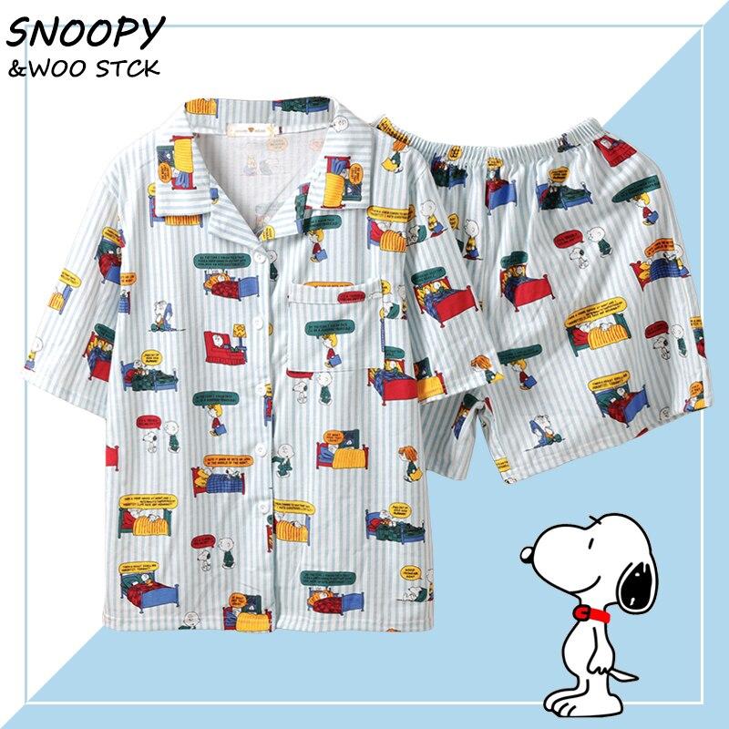 Caiyier Stripe Snoopy Print Pajamas Set Cotton Short Sleeve Sleepwear With Eye Mask Casual Nightwear Ladies Korean Pijama Mujer