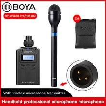 Boya BY-HM100 handheld microfone liga omni direcional microfone dinâmico xlr saída para apresentação de voz vídeo eng efp entrevista