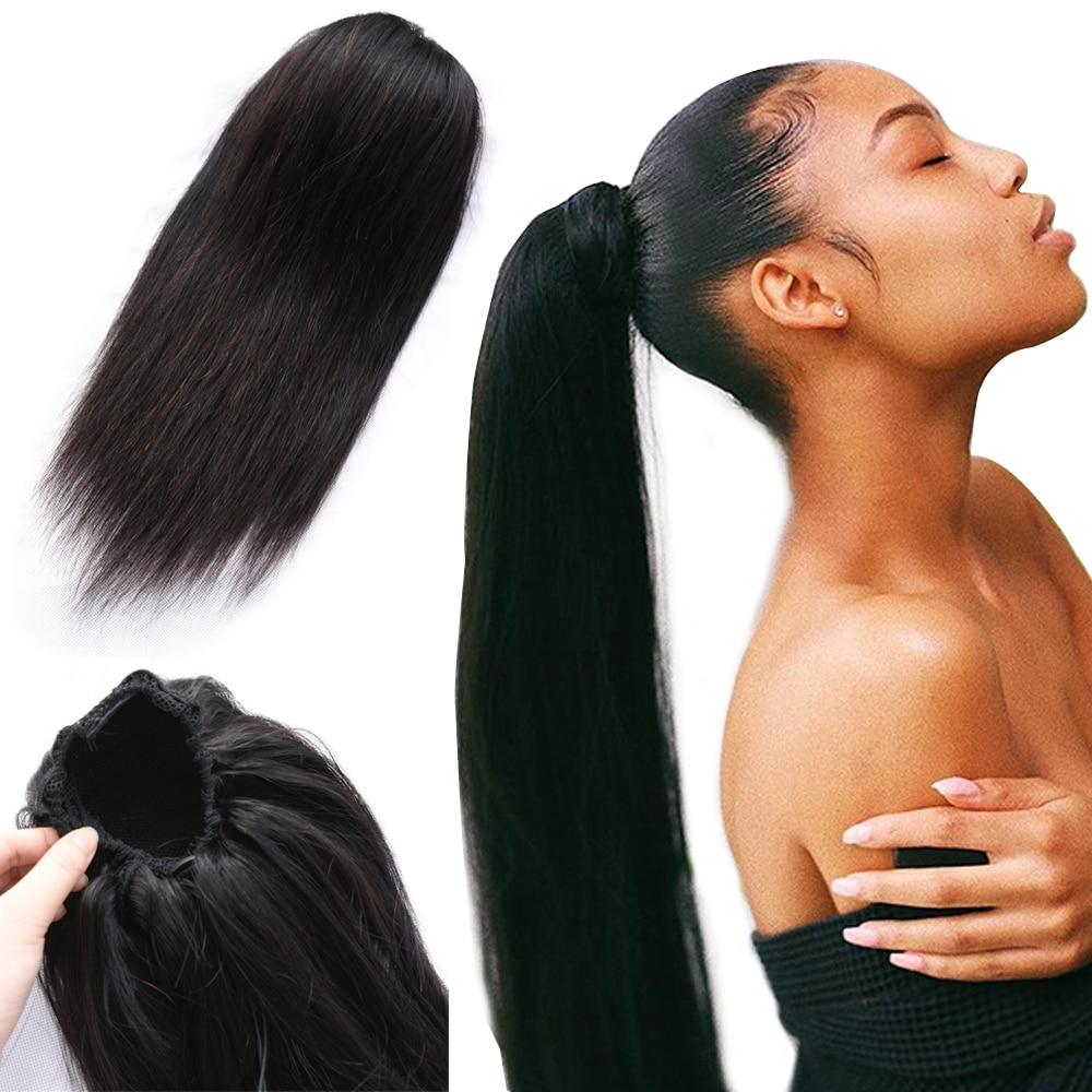 Конский хвост человеческие волосы для наращивания с зажимом на шнурке конский хвост прямые бразильские волосы конские хвосты для женщин Remy...