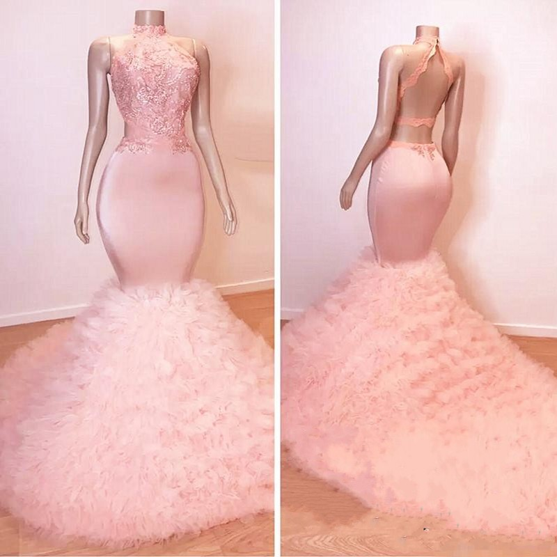 Light Pink Mermaid Prom Dresses 2020 Tulle Appliques Beads Backless Halter Court Train Party Gowns Vestidos De Fiesta