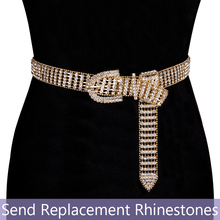 105cm Luxury Womens Gold Shiny Full-Rhinestone belt female bright bride bling crystal diamond waist chain for Party Weddin