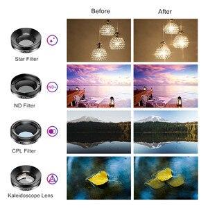 Image 4 - APEXEL 11 en 1 Kit dobjectif de téléphone caméra grand angle macro couleur/grad filtre CPL ND étoile filtre pour iPhone Xiaomi tous les smartphones