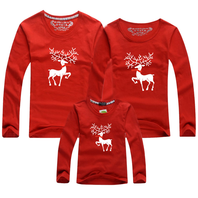 Family Matching Outfits Christmas Family T-shirt Mother Daughter Clothes Girls Boy Mom Dad Long Sleeves T-shirt