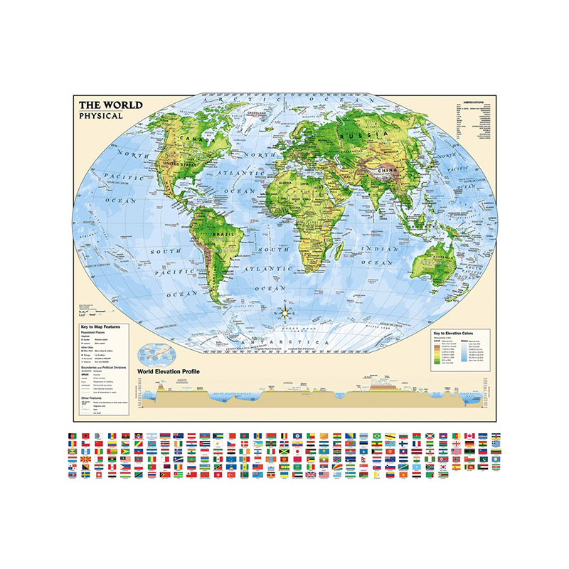 90*90cm World Map Non-woven Printing World Map With Flag 90x90cm Regular World Map For Education